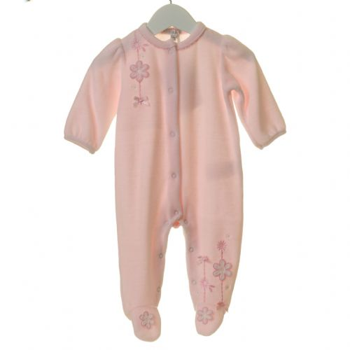 Pink Velour Sleeper with Embroidered Flower